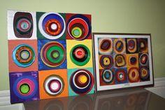 Kandinsky Lid Art with plastic lids