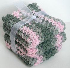 Crochet Dishcloths Washcloths Set of 3.  Pink & Green Camouflage.