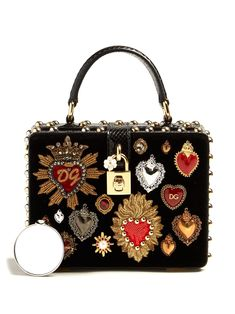 03d943e44f4d Heart-embellished snakeskin and velvet box bag | Dolce & Gabbana |  MATCHESFASHION.