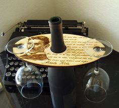Wine Glass Holder with wood burning engraving