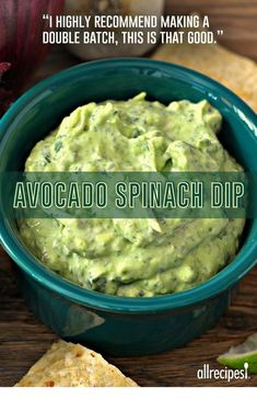 """Avocado-Spinach Dip - """"I highly recommend making a double batch, this is that good. Just the right amount of spiciness from the jalapeno and hot sauce. Healthy Diet Recipes, Healthy Snacks, Cooking Recipes, Cooking Tips, Yummy Recipes, Lunch Recipes, Healthy Tortilla, Raw Vegan Recipes, Potato Recipes"""