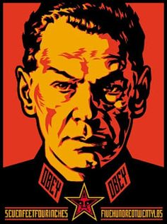 SHEPARD FAIREY - Authoritarian -  2000 -  Screenprint -  24 x 18 in. -  Edition of 140 -  Pencil signed and numbered - Contact us at info@gsfineart.com or call us at 305-456-5478
