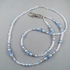 Unicorn Czech Glass Beaded ID Lanyard Key or Eyeglasses Holder ID Necklace