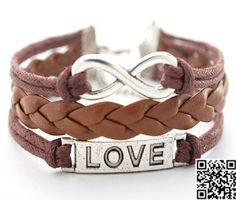 Infinity bracelet love charm bracelet brown braided by Carlydiy, $3.99