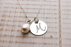 Sterling silver initial monogram necklace with freshwater pearl, beautiful new font, hand stamped jewelry
