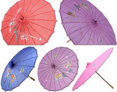 "Chinese Japanese Fabric Umbrella Parasol 32"" Floral Design"