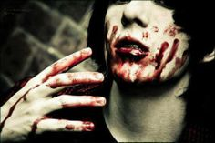 Bloody , blood on the hand, blood Emo Scene, Black Veil Brides, Macabre, Blood, Halloween Face Makeup, Goth, Fictional Characters, Dexter, Sally
