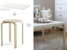 IKEA HACK: how to a Frosta stool into a coffee table Ikea Inspiration, Hacks Diy, Home Hacks, Ikea Furniture, Furniture Makeover, Luxury Furniture, Furniture Cleaning, Ikea Chair, Furniture Movers