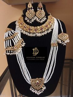 made Upon order Necklace set with earrings Long haar Jhoomar tika Made using polki with shell pearls and gold plating Delivered in Pakistani Bridal Jewelry, Indian Bridal Jewelry Sets, Indian Jewelry, Bridal Jewellery, Wedding Jewelry, Hyderabadi Jewelry, Fancy Jewellery, Jewellery Designs, Jad