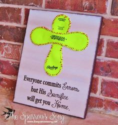 "{UPDATED} 12"" x 16"" Softball Cross + Canvas Sign}{Painting 