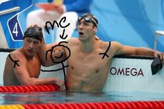 """Me"" with Ryan Lochte and Michael Phelps lmao"