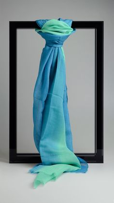 Multi shaded scarf in  green and azure, 78 x 27,3 inch - 200cm x 70cm. 45% wool, 35% silk, 20% cashmere