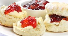 a prepared Scones with Whipped Cream & Jam meal