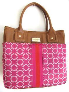 Tommy Hilfiger Small Tommy Tote Handbag, Pink / Orange Stripe