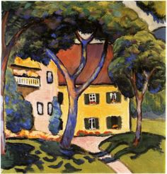A beautiful oil on canvas painting of Staudacher's House at The Tegernsee by one of the leading members of the German Expressionist group August Macke. August Macke, Wassily Kandinsky, Maurice De Vlaminck, Oil On Canvas, Canvas Art, Large Canvas, Blue Rider, Franz Marc, Expressionist Artists