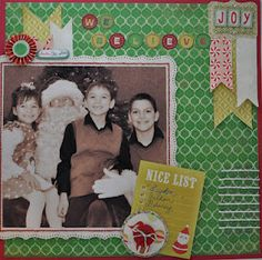christmas layout, bobby pins painted white and used for journaling lines, created for Practical Scrappers
