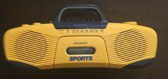 VINTAGE Sony CFS-914 Sports AM/FM Stereo Cassette YELLOW Radio RETRO BOOMBOX