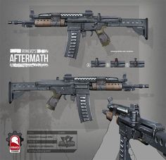 romero's aftermath - makeshift assault rifle for freereign entertainment by rmory studios Sci Fi Weapons, Weapon Concept Art, Weapons Guns, Fantasy Weapons, Mad Max, Science Fiction, Future Weapons, Gun Art, Fallout