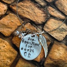 For Malia--Hand Stamped In Memory of Baby Miscarriage, Stillborn or Infant Loss Necklace- Hand Stamped Child Loss Necklace- In Memory of Baby or Child Ideas Joyería, Gift Ideas, Robert Jr, Stillborn, Child Loss, Baby Footprints, Losing A Child, Infant Loss, Angels In Heaven