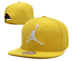 "Men's Nike Air Jordan The White ""Jumpman"" 3D Embroidery Logo Sports Fashion Snapback Hat - Yellow"
