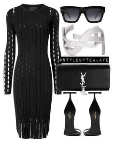 """""""Untitled #1702"""" by stylebyteajaye ❤ liked on Polyvore featuring Alexander Wang, Yves Saint Laurent and CÉLINE"""