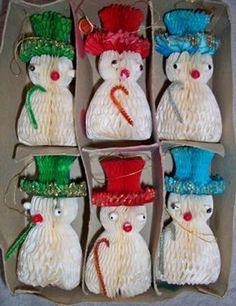 Vintage Christmas Honeycomb Decorations ~ Snowman Ornaments