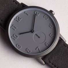 Pvd Grey Stainless Steel Watch With Alcantara Strap