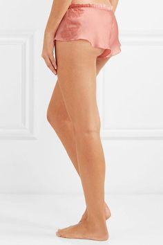 Carine Gilson - Chantilly lace-trimmed silk-satin pajama shorts 3d04ddb22