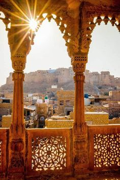 View of Jaisalmer Fort from one of the Havelis. Jaisalmer, Rajasthan, India C: can have arches with filigree work on bottom and painted panels on top this will be on the side. Jaisalmer, Places Around The World, The Places Youll Go, Places To Go, Around The Worlds, Goa India, North India, Haveli India, Taj Mahal