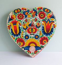 Vintage Czech Heart Shaped Candy Box with a Moravian Design of Flowers and Birds. $11.90, via Etsy.