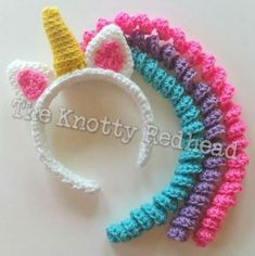 You will love this Crochet Unicorn Headband Pattern and it's just one of a number of super cute ideas. You'll find plenty of free patterns too! Crochet Unicorn Hat, Crochet Headband Pattern, Crochet Beanie, Crochet Headbands, Crochet Hair Bows, Unicorn Pattern, Free Form Crochet, Crochet For Kids, Simply Crochet
