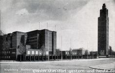 magdeburg adolf mittag see   Stadthalle und Ausstellungsturm