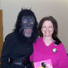 "With ""Kathe Kollwitz"" of the Guerrilla Girls at Chgo Humanities Festival. Buttons are available individually or in multiples of 10 & 100 per pack."