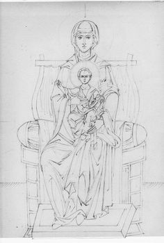 Virgin and Child Enthroned line drawing low res Byzantine Icons, Byzantine Art, Artist Painting, Painting & Drawing, Madonna, Church Icon, Mosaic Tile Art, Archangel Raphael, Blessed Mother Mary