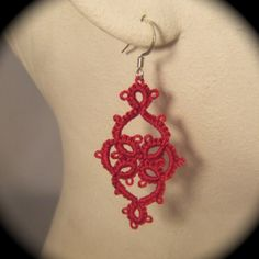 Tatted Earrings  Victoriana  Red by TotusMel on Etsy, $15.00