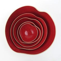 cupidOo red bOwl set of 5 MADE TO ORDER by atelierOKER on Etsy, €64.50