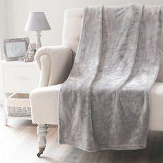 Plaid gris 150 x 230 cm FLANNELLE