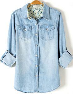 Vestido solapa lavado manga larga-azul claro 14.72