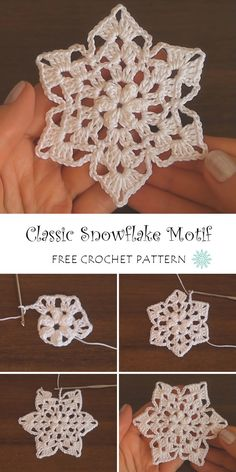 Classic Snowflake Motif Crochet Pattern Crochet Christmas Decorations, Crochet Ornaments, Christmas Crochet Patterns, Crochet Blanket Patterns, Crochet Crafts, Yarn Crafts, Crochet Stitches, Crochet Projects, Free Crochet Snowflake Patterns