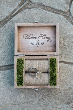 Ring box, moss, wedding bands, wood burning script, burlap // Elisabeth Millay Photography