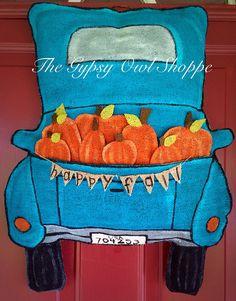 Pick Up Truck Fall Burlap Door Hanger  by gypsyowlshoppe on Etsy, $45.00