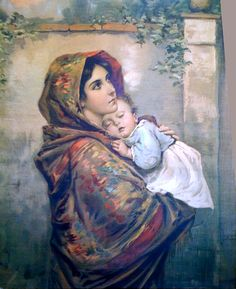 Roberto Ferruzzi's Madonna of the Streets I first daw this hanging on a wall at a hostel in Germany.I thought it was just beautiful Mother Of Christ, Blessed Mother Mary, Blessed Virgin Mary, Catholic Art, Religious Art, Queen Of Heaven, Mama Mary, Religion, Religious Pictures