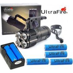 Kit Linterna Ultrafire UFT90 4 x XML-T6 2.000 lúmenes Dimmer de regulación de luz Alimentación: 4 batería de 18650 3.7v. Incluida Cargador de 2 baterías incluido Mas baterías ver aquí  Activación mediante boton en cabeza  Boton pulsado regula intensidad Memoria del último nivel Reflector cuatro cabezas El Kit se compone de Linterna, Cargador doble y 4 Batería 18650 de 2400mA 110,59€ http://ledtron.es/home/79-kit-linterna-ultrafire-uft90.html