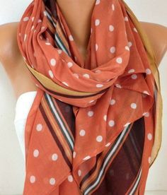 Polka Dot Scarf Fall Winter Accessories Shawl Oversize by fatwoman ✿