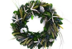 """One Kings Lane - The Holiday Shop - 20"""" Seashell & Millet Wreath, Blue/Green"""