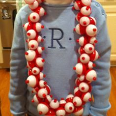 100 days of school - 100 fishing bobber necklace.