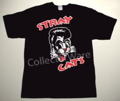 STRAY CATS logo 2 CUSTOM ART UNIQUE T-SHIRT Each T-shirt is individually hand-painted, a true and unique work of art indeed!  To order this, or design your own custom T-shirt, please contact us at info@collectorware.com, or visit http://www.collectorware.com/tees-straycats_andrelated.htm