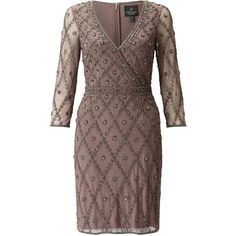 Adrianna Papell Long Sleeve V-Neck Beaded Cocktail Dress, Stone (€290) ❤ liked on Polyvore featuring dresses, long-sleeve mini dress, 3/4 sleeve cocktail dress, v neck maxi dress, 3/4 sleeve dress and beaded cocktail dresses