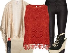 Red laced top+black pants+black wedges+nude cardigan+nude clutch. Summer outfit 2016