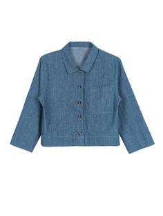 Buy Blue Pocket Detail 3/4 Sleeve Cropped Denim Shirt from abaday.com, FREE shipping Worldwide - Fashion Clothing, Latest Street Fashion At Abaday.com